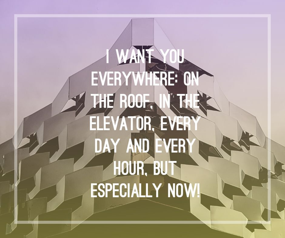 I want you everywhere: on the roof, in the elevator, every day and every hour, but especially now!