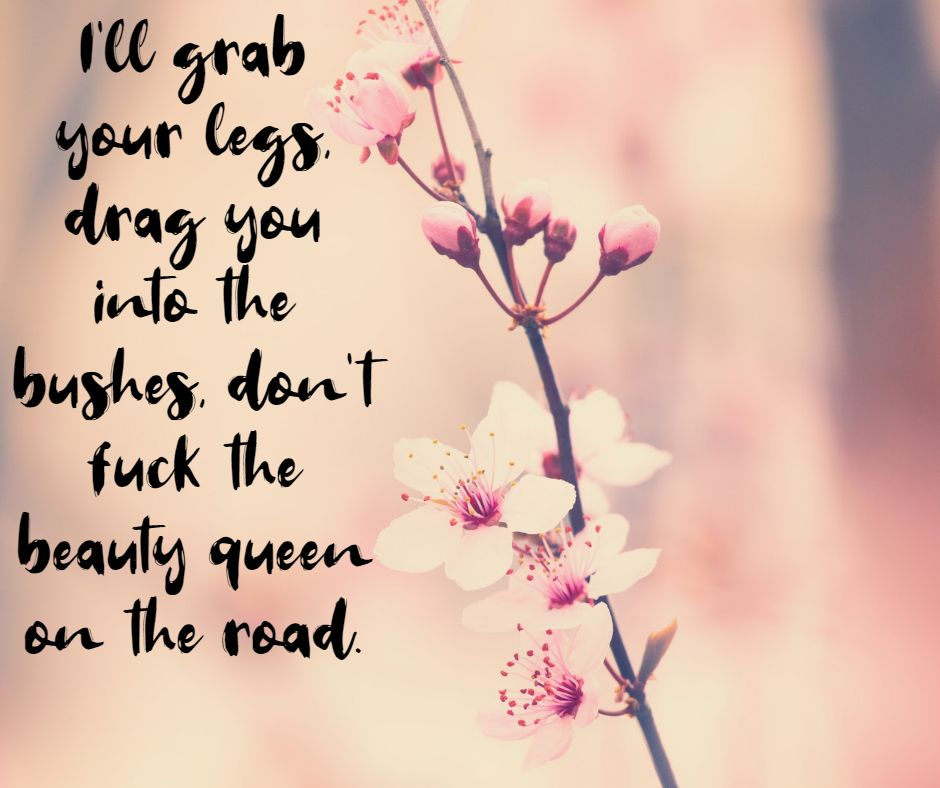 I'll grab your legs, drag you into the bushes, don't fuck the beauty queen on the road.