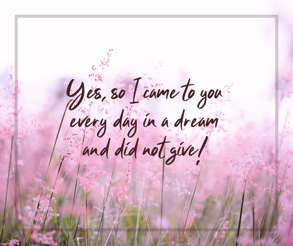 Yes, so I came to you every day in a dream and did not give!